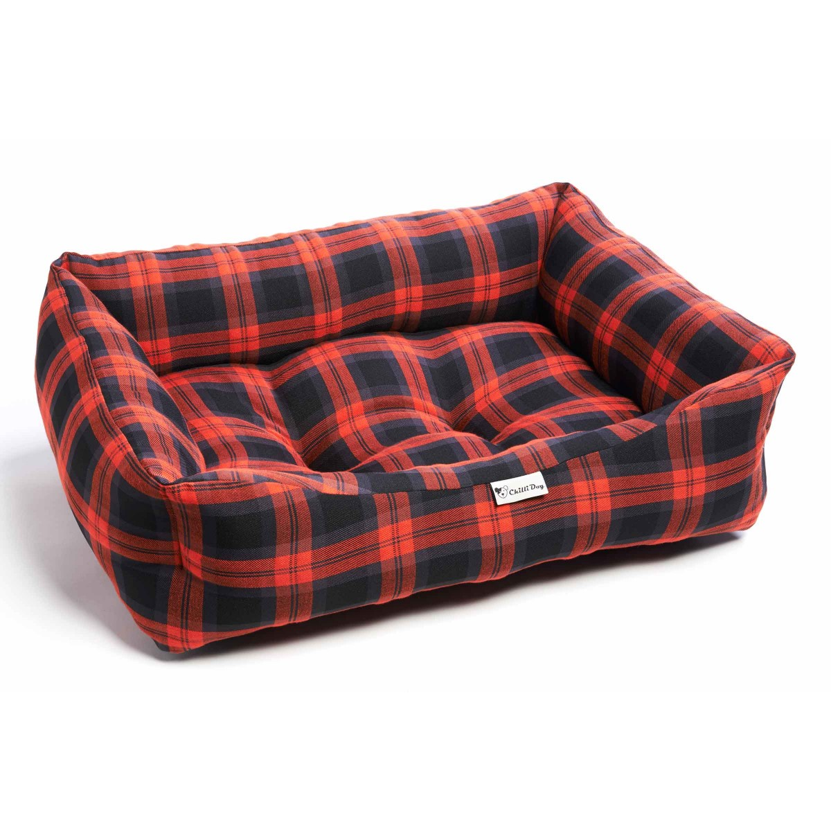 Chilli dog red grey tartan sofa dog bed Red and grey sofa