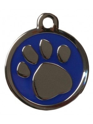 Blue Pawprint Dog ID Tag