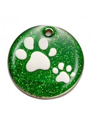 Green Glitter Paw Dog ID Tag
