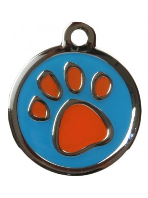 Orange & Blue Pawprint Dog ID Tag