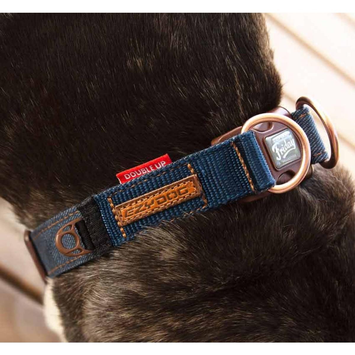 Ezydog Denim Double Up Dog Collar Secure Dog Collar