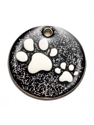 Black Paw Glitter Dog ID Tag