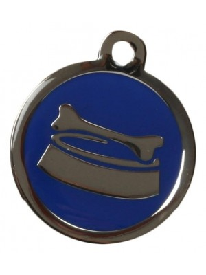 Blue Bone & Bowl Dog ID Tag