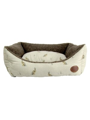 Snug & Cosy Hare Print Dog Bed