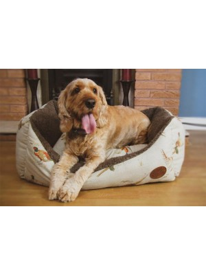 Pheasant Print Dog Bed with Dog