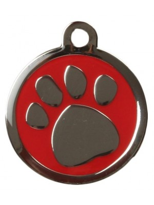 Red Pawprint Dog ID Tag