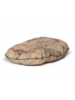 Danish Design Vintage Maps Luxury Quilted Mattress Dog Bed