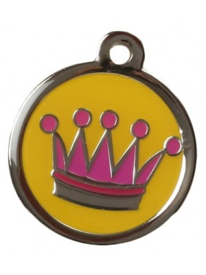 Yellow & Pink Crown Dog ID Tag