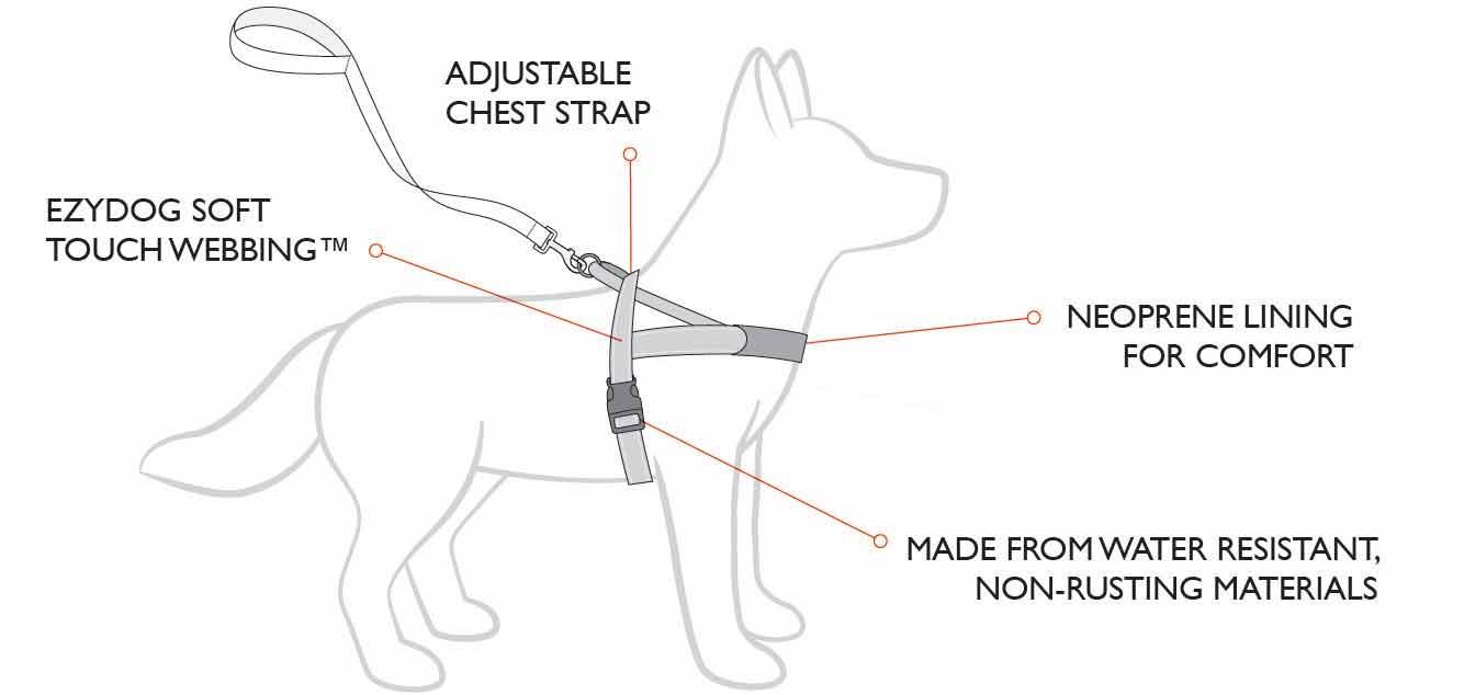 EzyDog Quick Fit Harness Denim Features